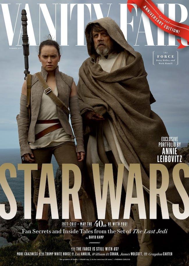Rey (Daisy Ridley) and Luke (Mark Hamill) on Ahch-To.