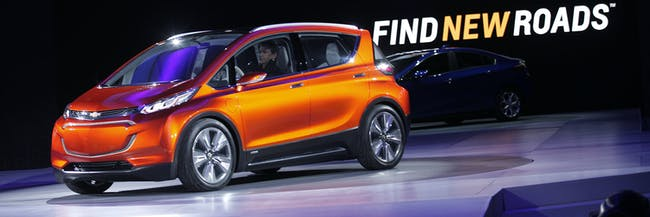 DETROIT, MI - JANUARY 12: General Motors reveals the new Chevrolet Bolt concept to the media at the 2015 North American International Auto Show on January 12, 2015 in Detroit, Michigan. More than 5000 journalists from around the word will see approximately 45 new vehicles unveiled. The 2015 NAIAS opens to the public January 17th and concludes January 25th. (Photo by Bill Pugliano/Getty Images)