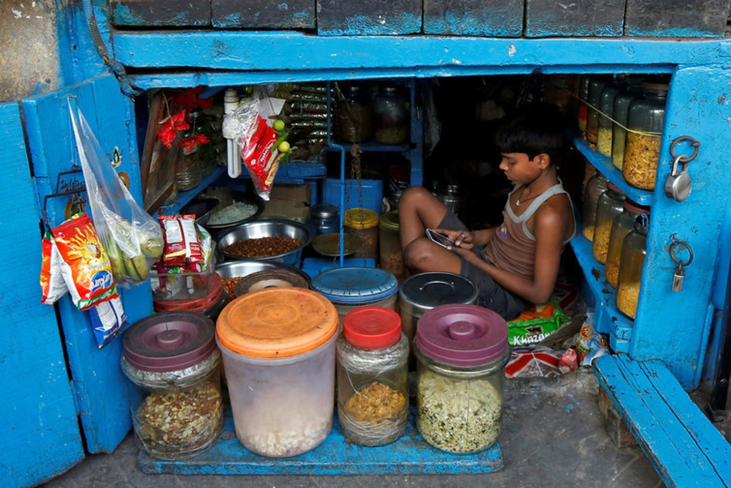 Half of Indian households has access to a mobile phone despite lacking other infrastructure.