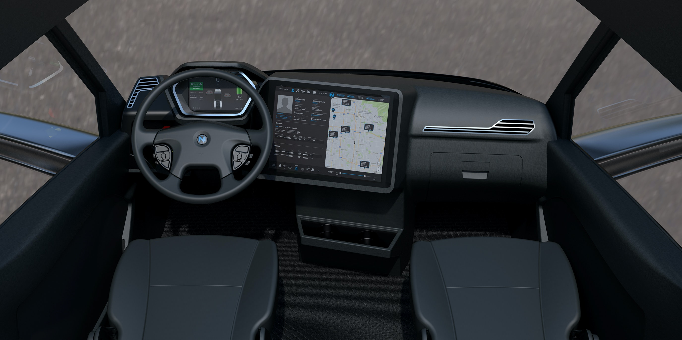 A render of the Nikola One's cabin.