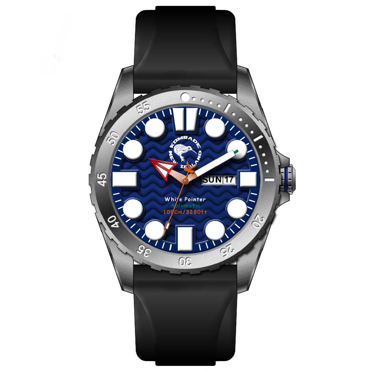 Indestructible, waterproof watch with silicone straps and sapphire glass crystal display