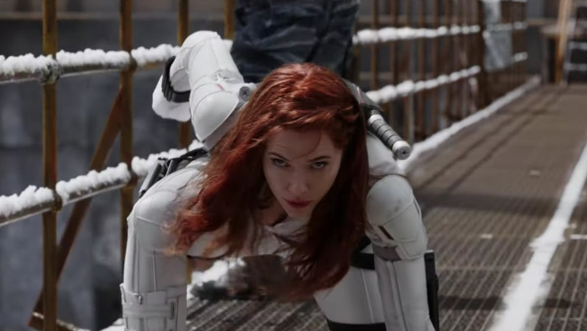 Image result for black widow trailer white suit""