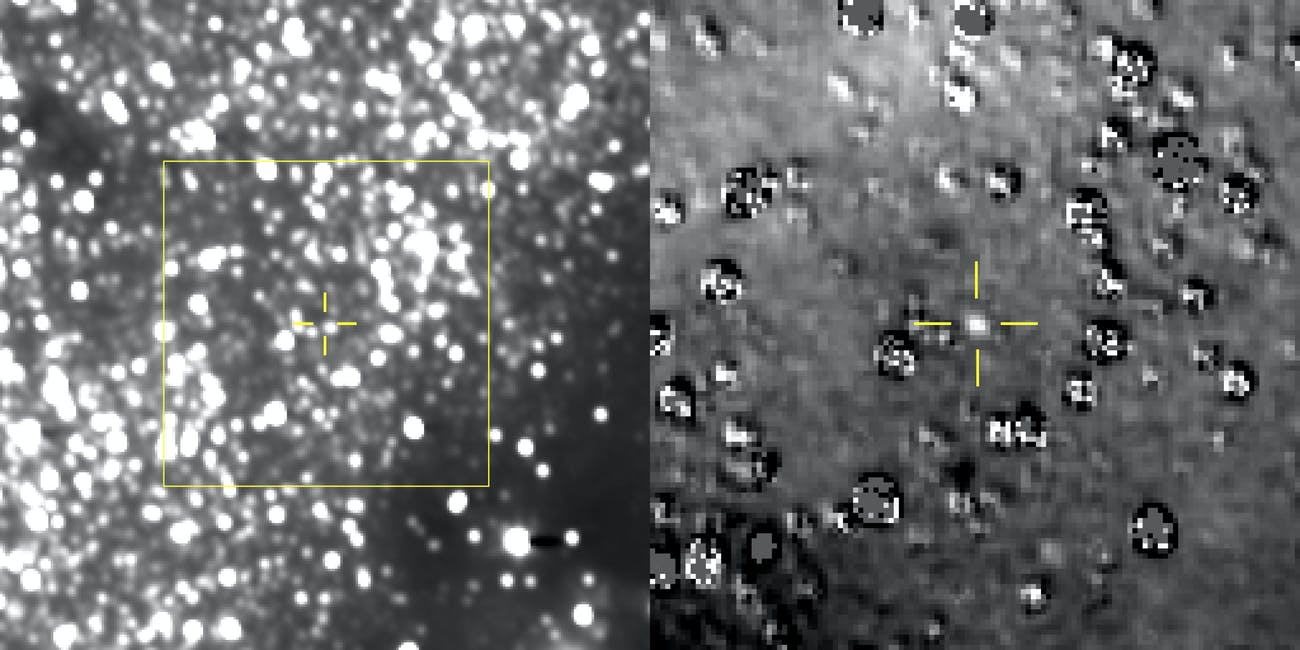 Left: Composite image taken by New Horizons showing the estimated range of Ultima Thule in the yellow box. Right: A zoomed-in image of the area inside the yellow box, showing Ultima Thule where scientists predicted it would be.