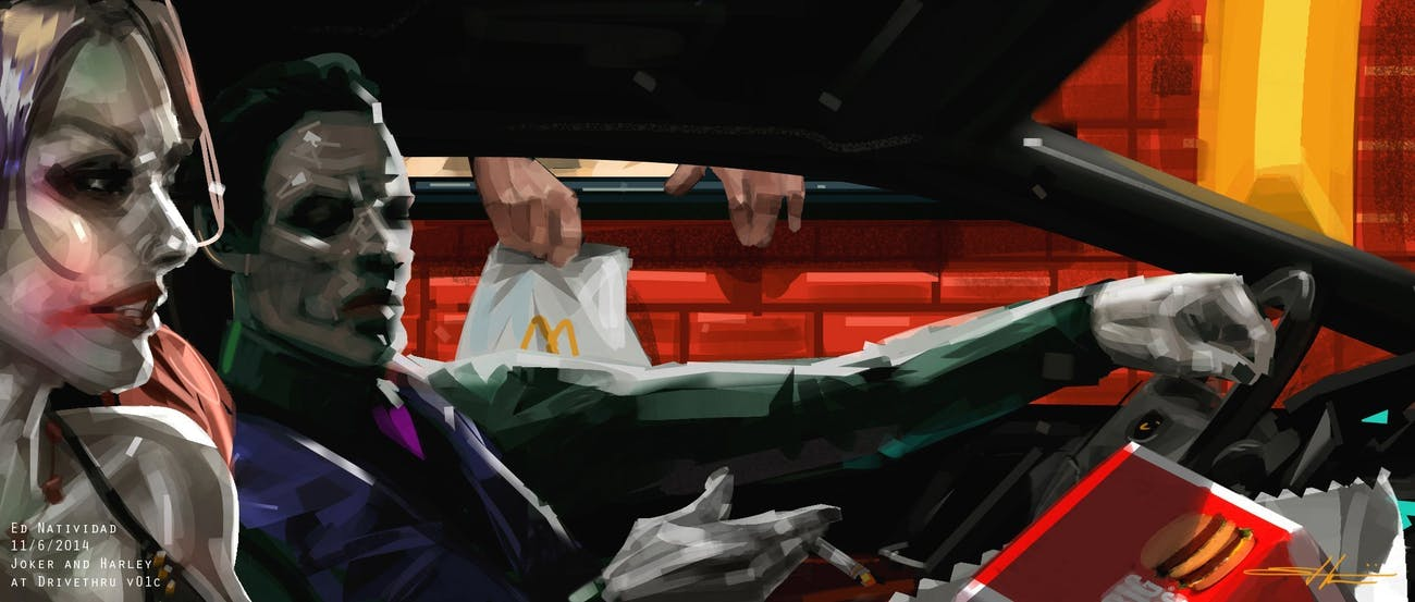 Ed Natividad concept art of Joker and Harley getting McDonalds in 'Suicide Squad'