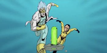 'Rick and Morty' Adult Swim Ident in the style of 'X-Men: The Animated Series'