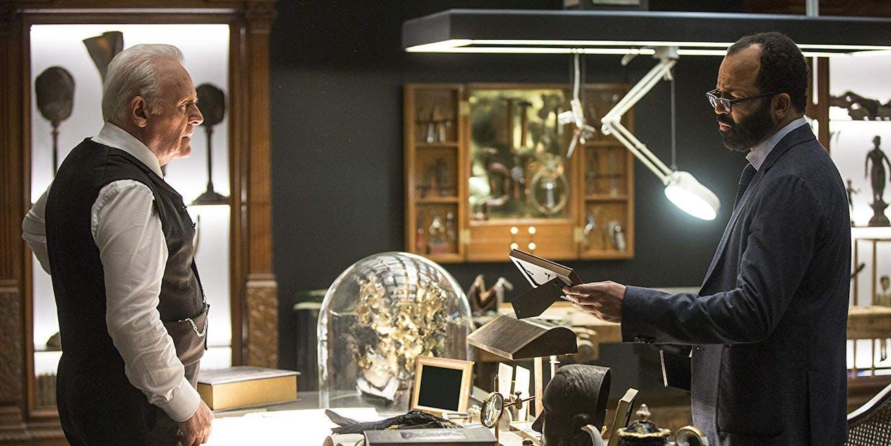 Robert Ford (Anthony Hopkins) and Bernard (Jeffrey Wright) in 'Westworld' Season 1