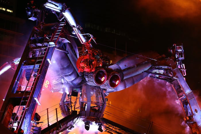 The Arcadia robotic spider is made out of recycled military and industrial machinery and is over 15 meters tall.