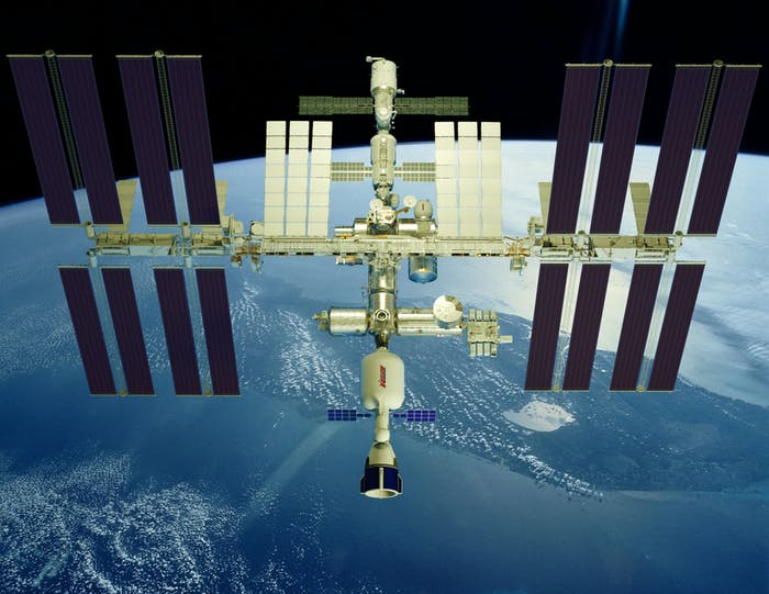 Concept image of Bigelow Aerospace's XBASE docked to the International Space Station.