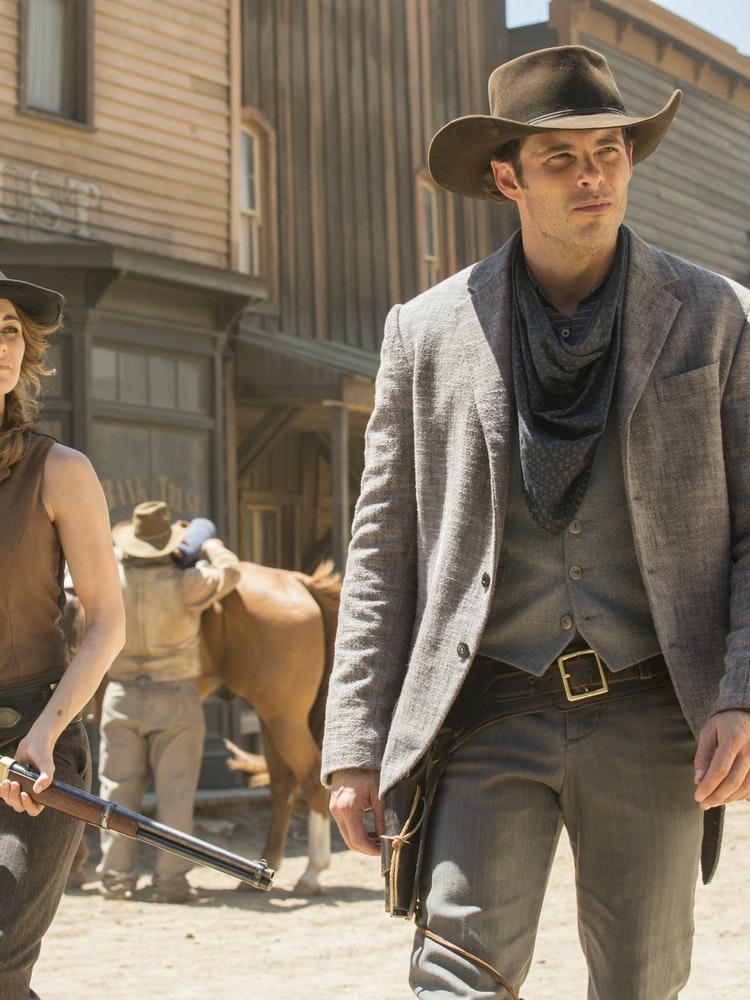 Bojana Novakovic and James Marsden in 'Westworld'