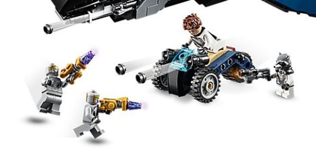 This Lego Quinjet comes with action figures and a trike