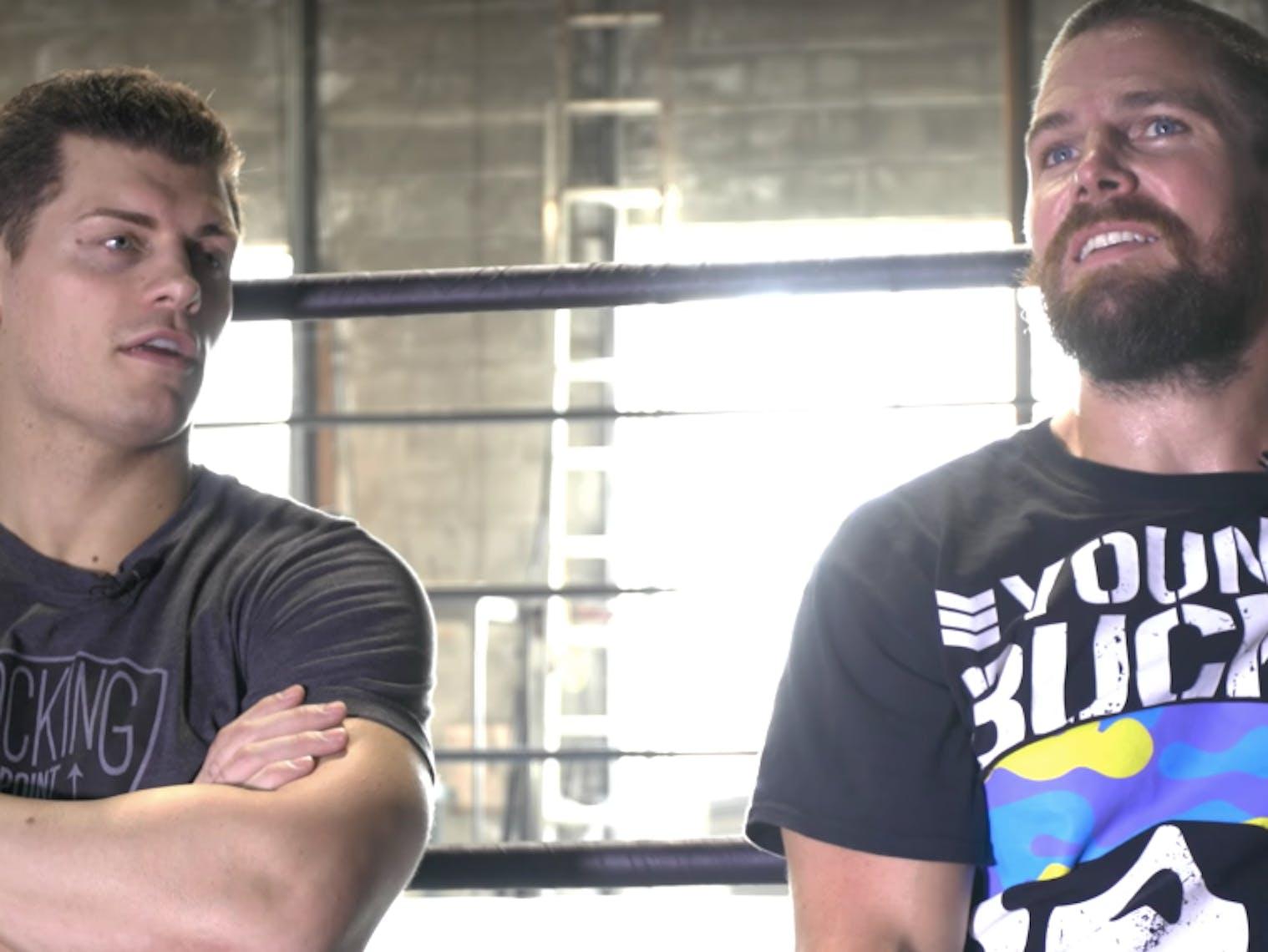 Stephen Amell Wrestling Heels