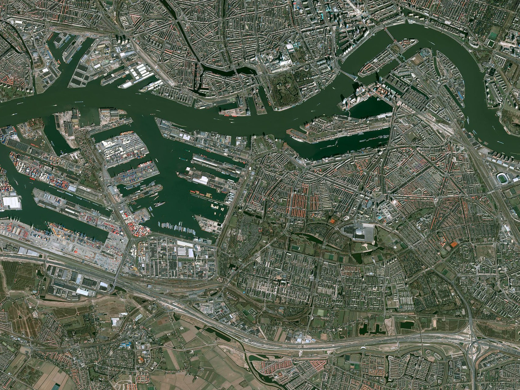 The Pleiades 1-A satellite image of Rotterdam.