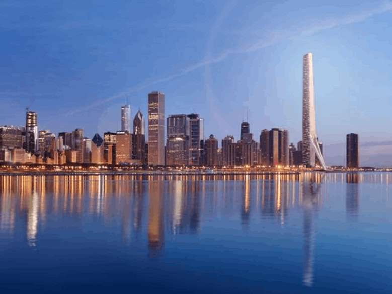 The enormous Gateway Tower would considerably alter Chicago's skyline