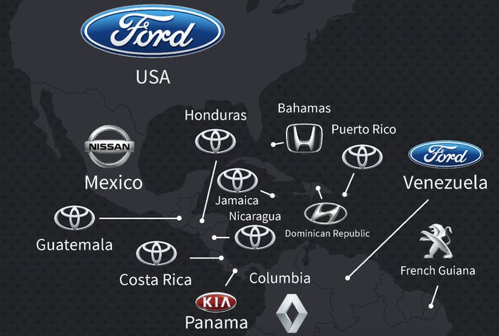 this map shows the most popular car brand in every country inverse. Black Bedroom Furniture Sets. Home Design Ideas