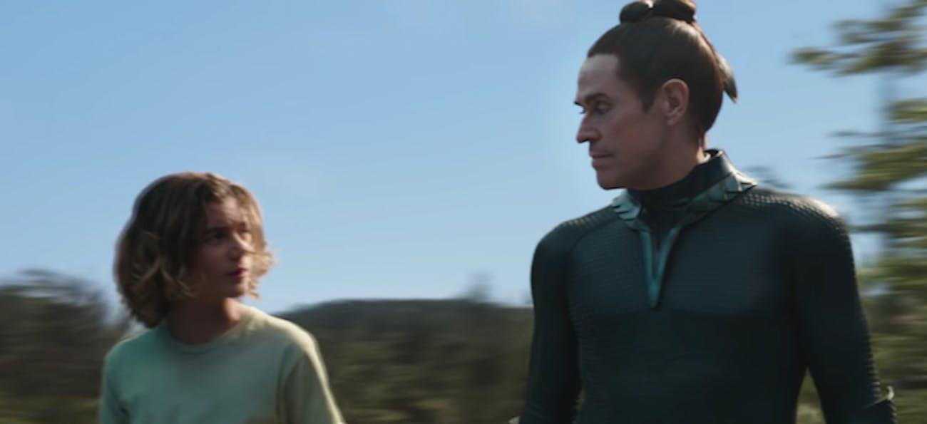 Young Aquaman training with Nuidis Vulko.