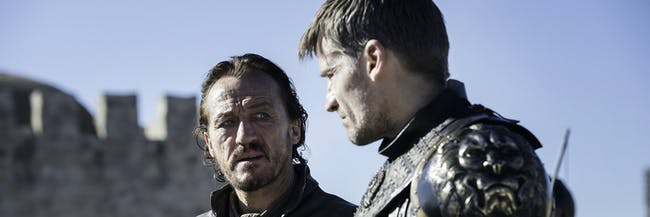 Bronn and Jaime look troubled at King's Landing.