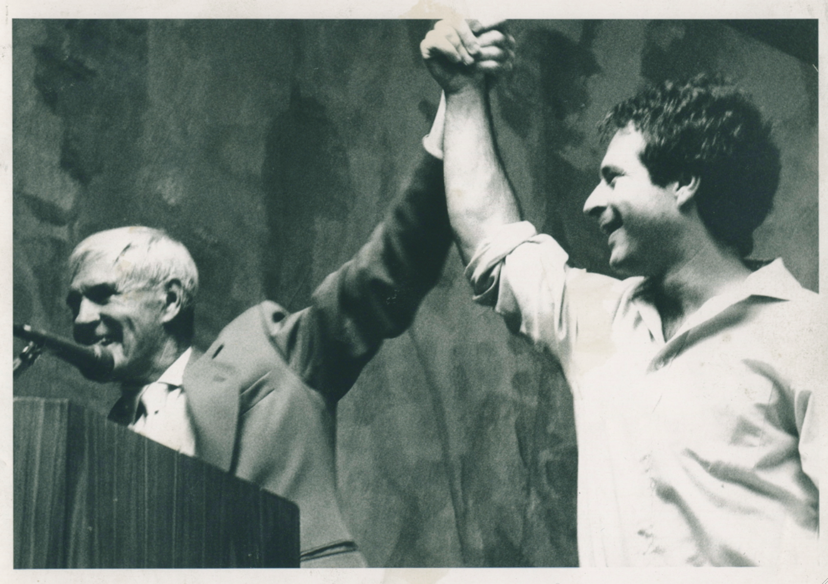 LSD advocate Timothy Leary celebrates with Rick Doblin in the 1980s.