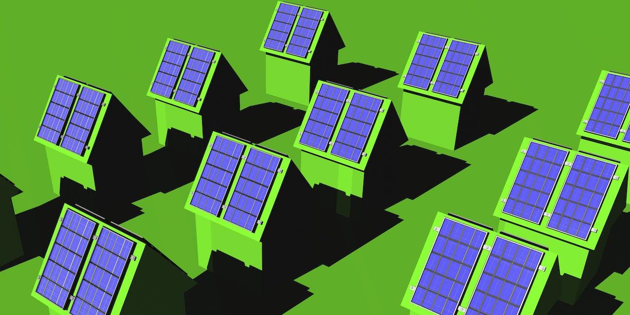 solar panels green background