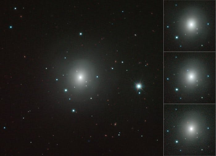 This mosaic shows how the kilonova in NGC 4993 brightened, became much redder in colour and then faded in the weeks after it exploded on 17 August 2017. These images were obtained using the VISTA infrared survey telescope at ESO's Paranal Observatory in Chile.
