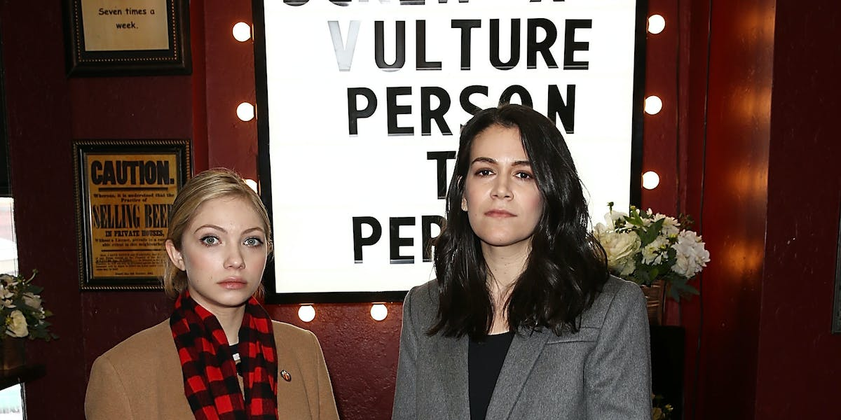 Tavi Gevinson and Abbi Jacobson attend a  J. Crew hosted event for 'Person to Person' at the Vulture Sundance Spot at Rock & Reilly's.