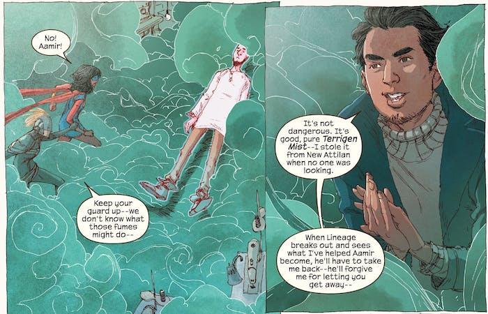 A panel from Marvel's Ms. Marvel depicting the Inhumans terrigen mist