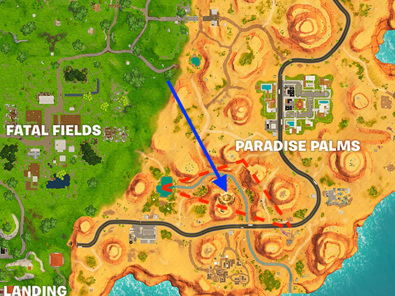 "The latest ""search between"" Battle Star Challenge in Week 2 sends players to Paradise Palms."