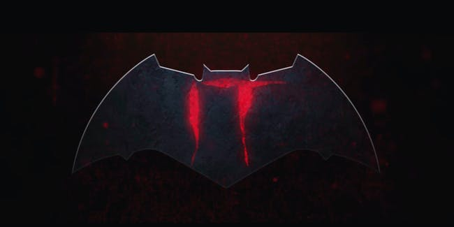 Fan-made logo for a trailer featuring Batman fighting Pennywise the Dancing Clown from 'It'.