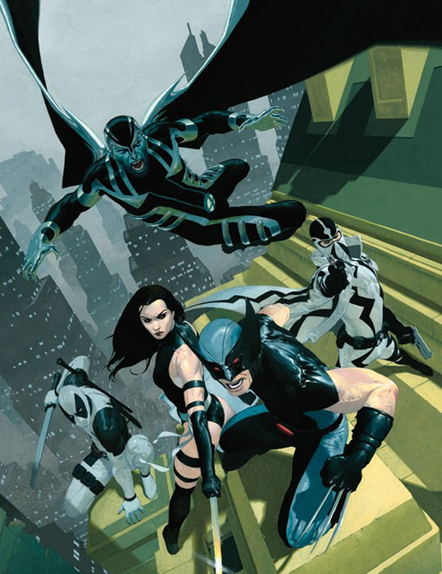 An X-Force lineup featuring Archangel, Deadpool, Fantomex, Psylocke, and Wolverine.