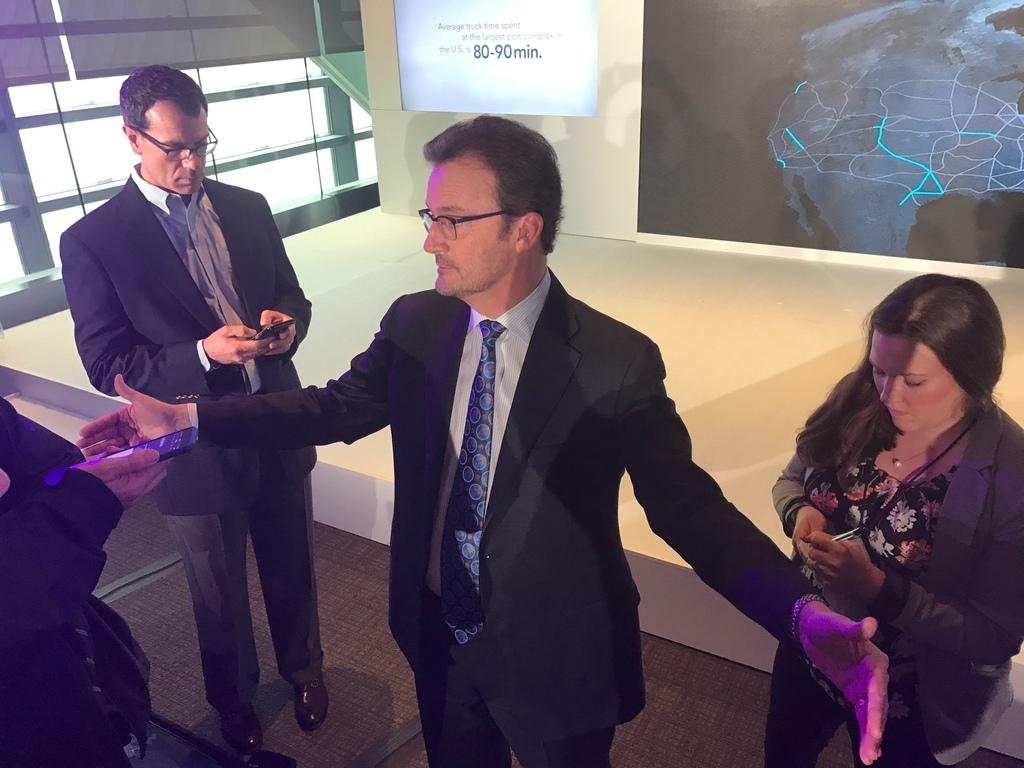 Hyperloop CEO Rob Lloyd talks to reporters Thursday in D.C.