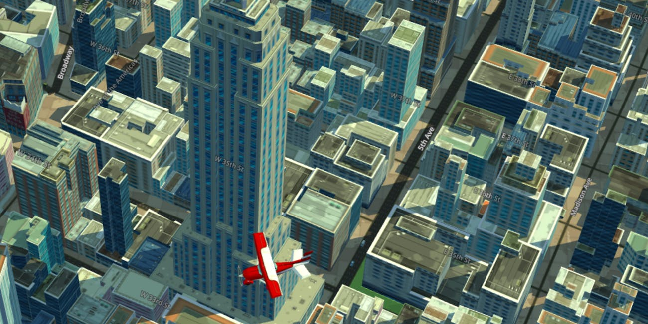 midtown manhattan 3d map plane empire state building WRLD eeGeo maps