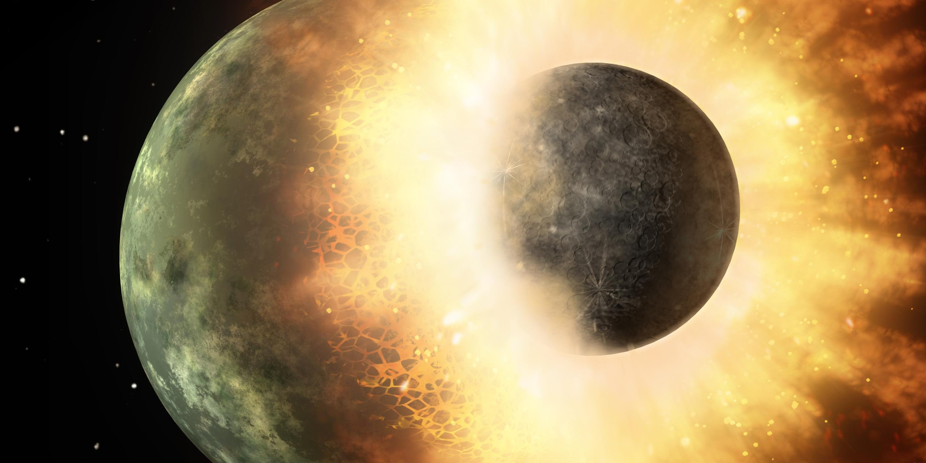 This artist's concept shows a celestial body about the size of our moon slamming at great speed into a body the size of Mercury. NASA's Spitzer Space Telescope found evidence that a high-speed collision of this sort occurred a few thousand years ago around a young star, called HD 172555, still in the early stages of planet formation. The star is about 100 light-years from Earth.