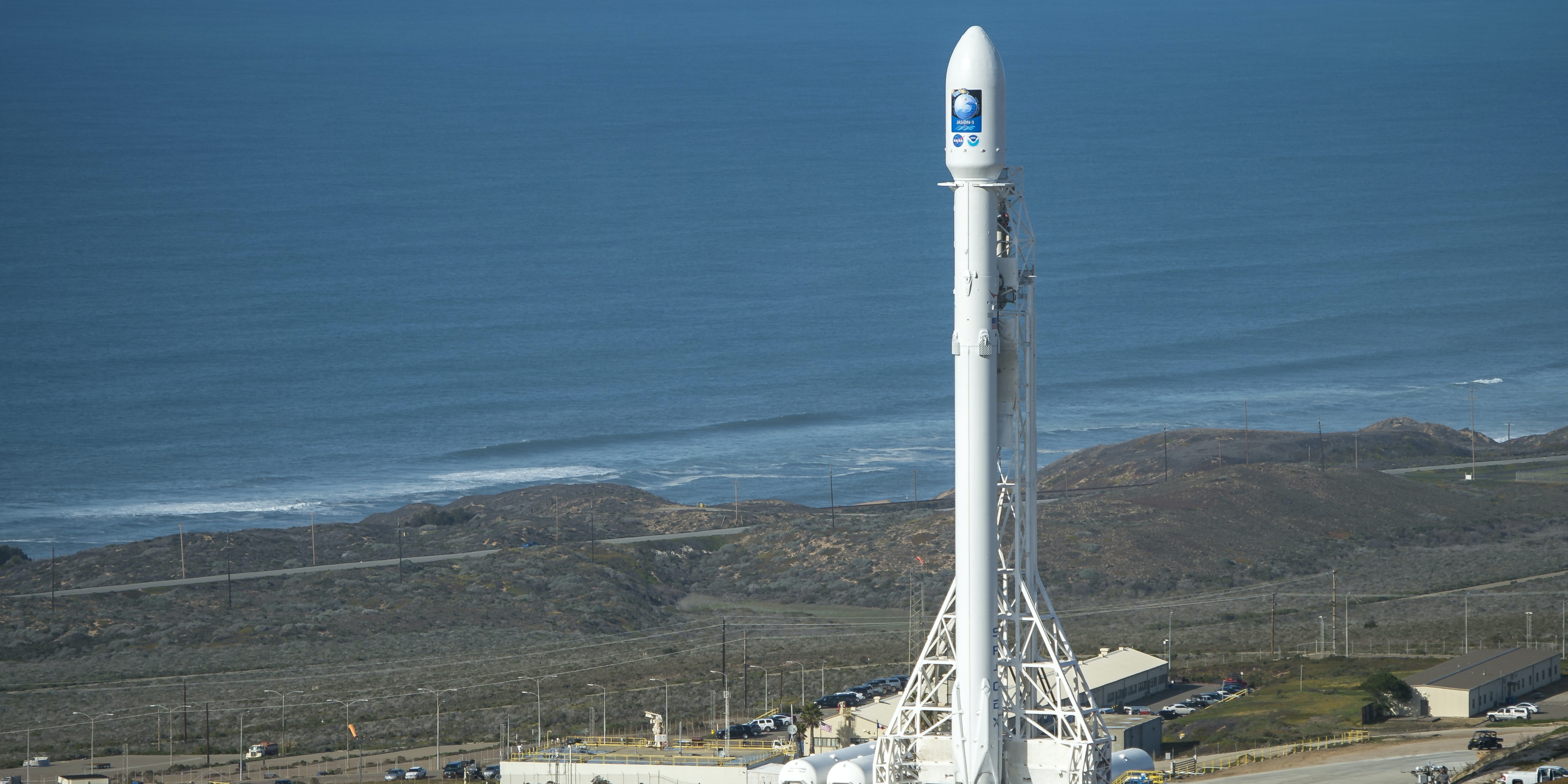 VANDENBERG AFB, CA - JANUARY 16: In this handout provided by the National Aeronautics and Space Administration (NASA), the SpaceX Falcon 9 rocket is seen at Vandenberg Air Force Base Space Launch Complex 4 East with the Jason-3 spacecraft onboard January 16, 2016 in California. Jason-3, an international mission led by the National Oceanic and Atmospheric Administration (NOAA), will help continue U.S.-European satellite measurements of global ocean height changes. (Photo by Bill Ingalls/NASA via Getty Images)