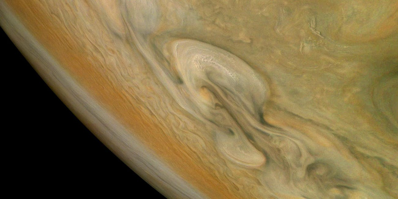 Jupiter's northern polar belt region taken by NASA's Juno spacecraft.
