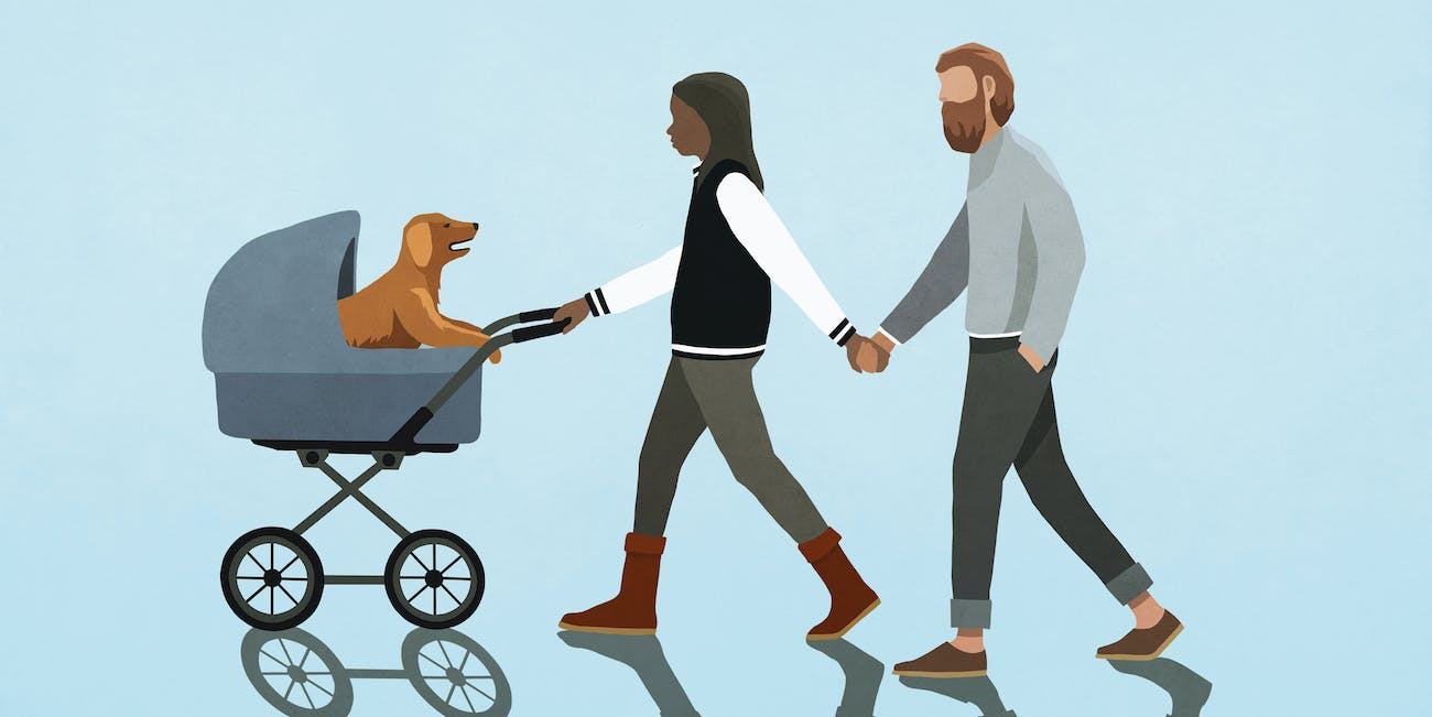 couple with dog baby