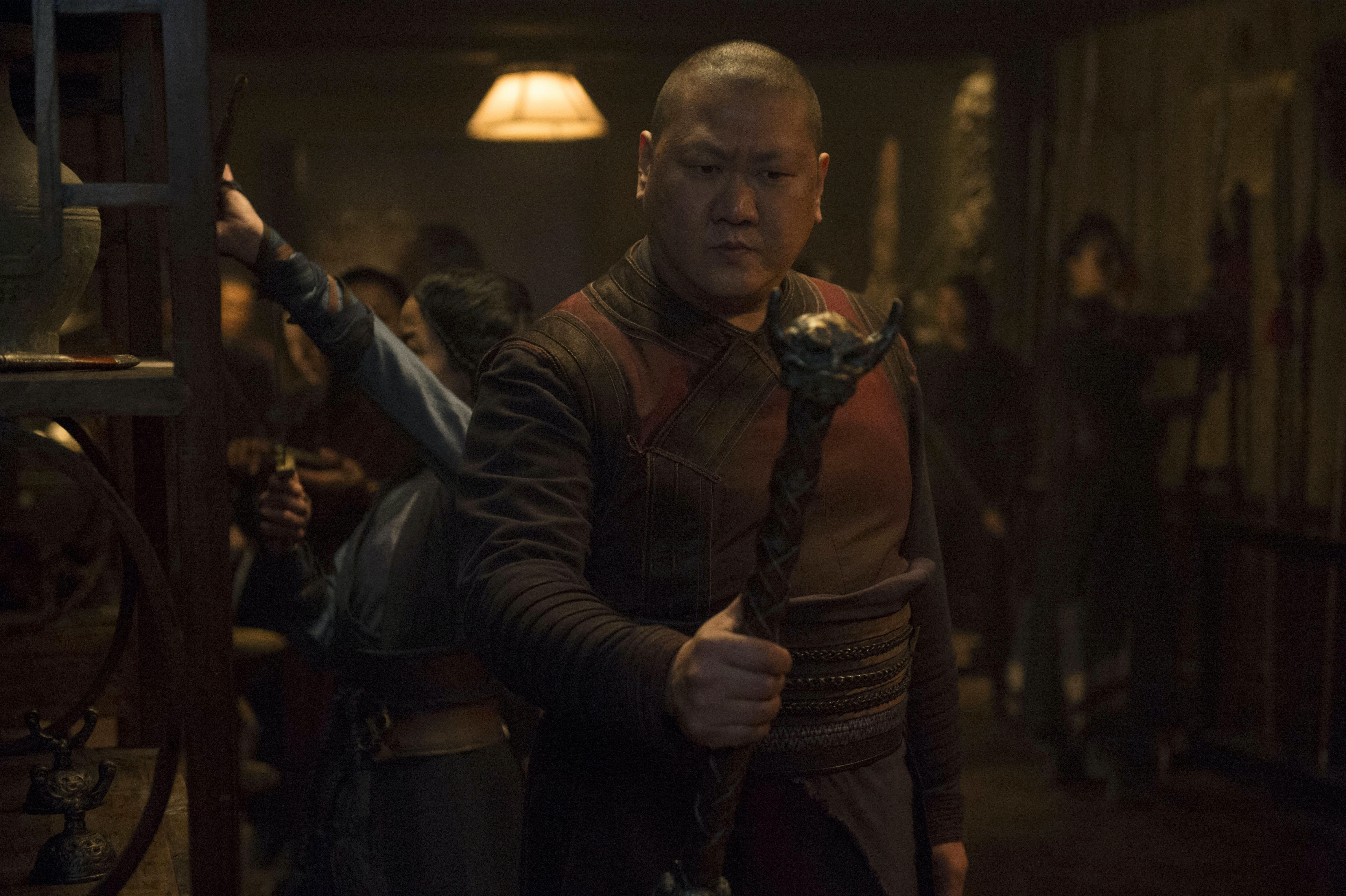 Wong (Benedict Wong) wielding the Wand of Watoomb.