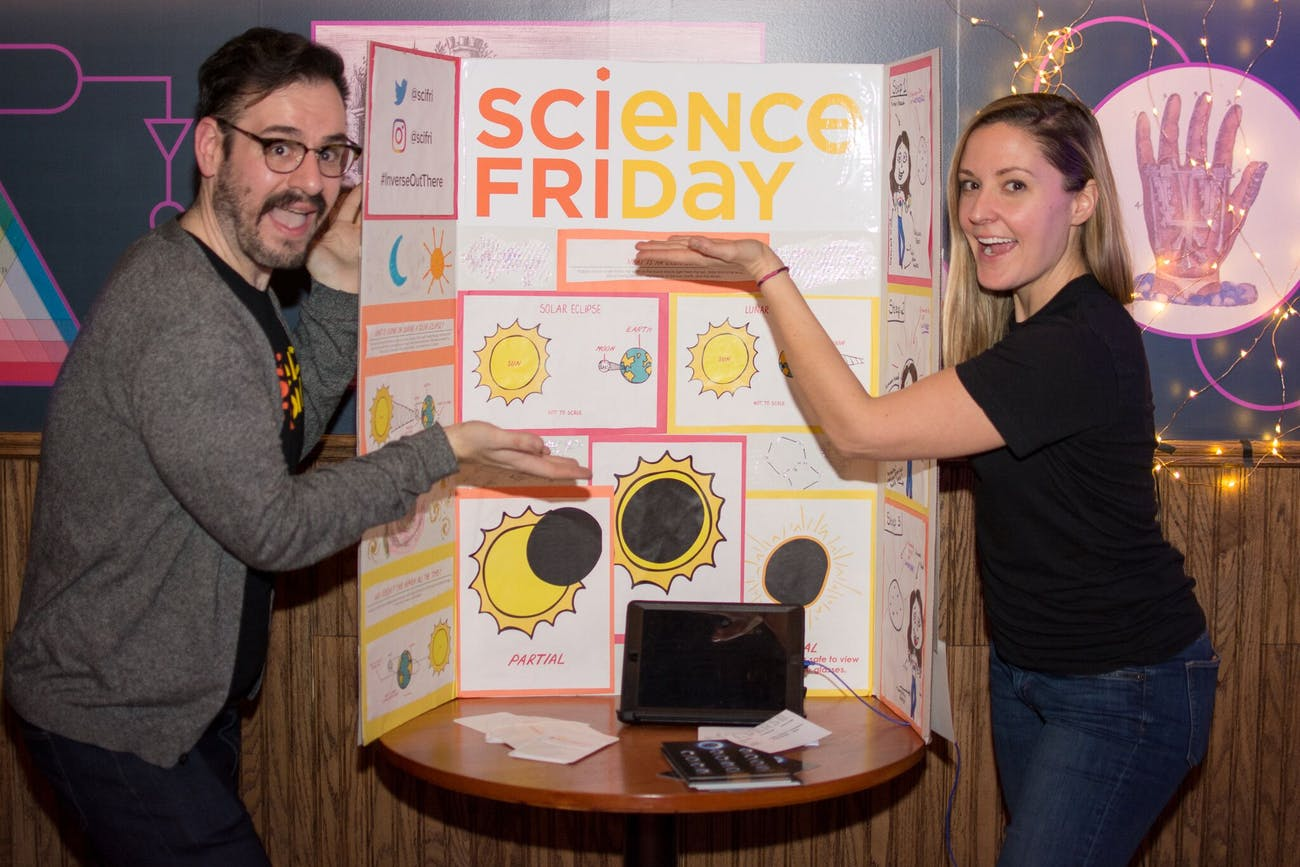 Echter and Bouton in front of their booth at the Inverse Science Fair. Via @shazthephotog