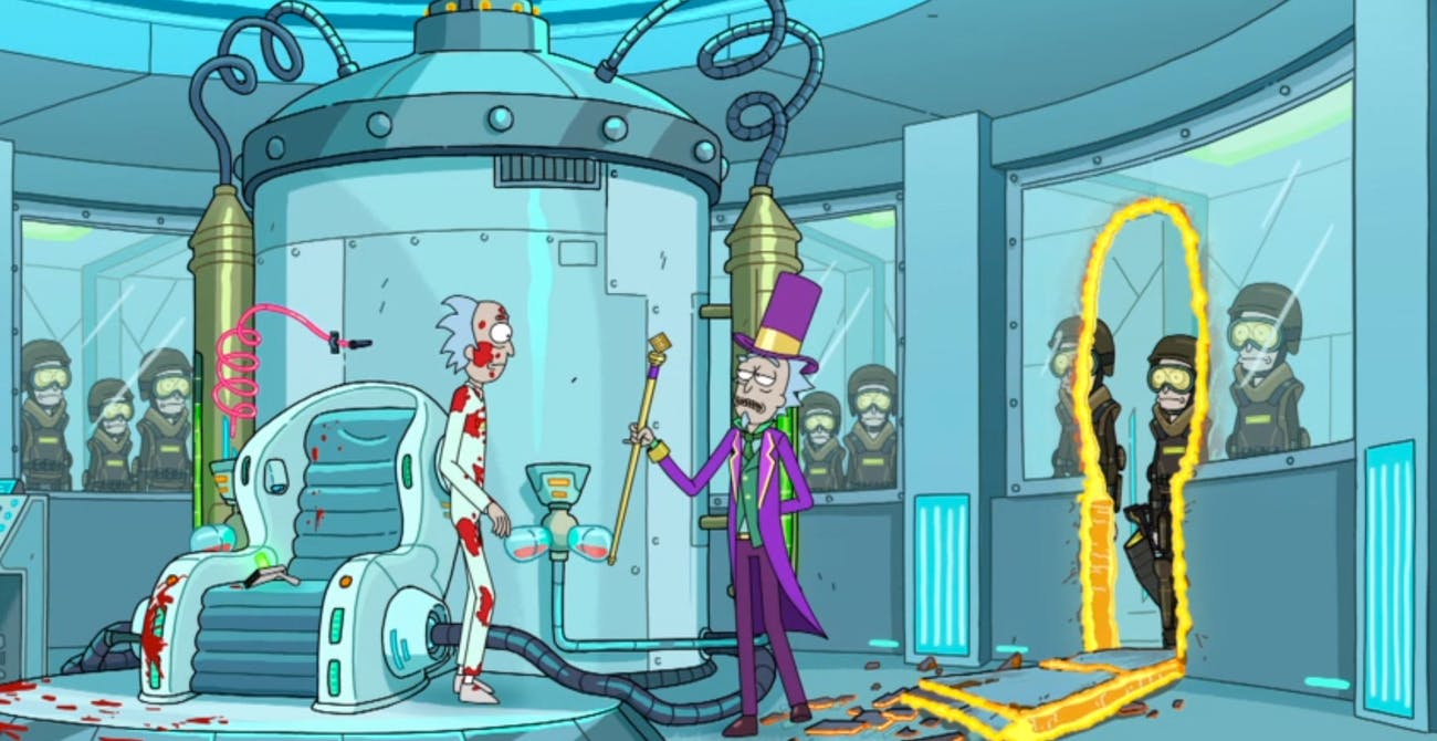 Willy Wonka Rick takes pity on Disgruntled Factory Worker Rick.