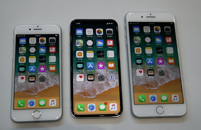 The iPhone 8, iPhone X and iPhone 8 Plus.