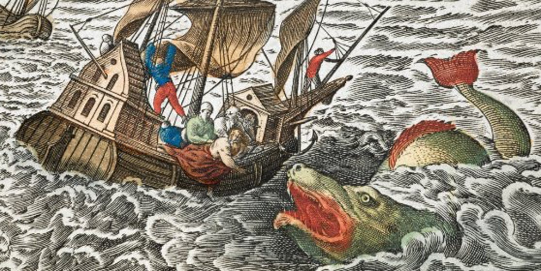Jonah is cast overboard to a sea monster, referencing the biblical story of Jonah and the whale.