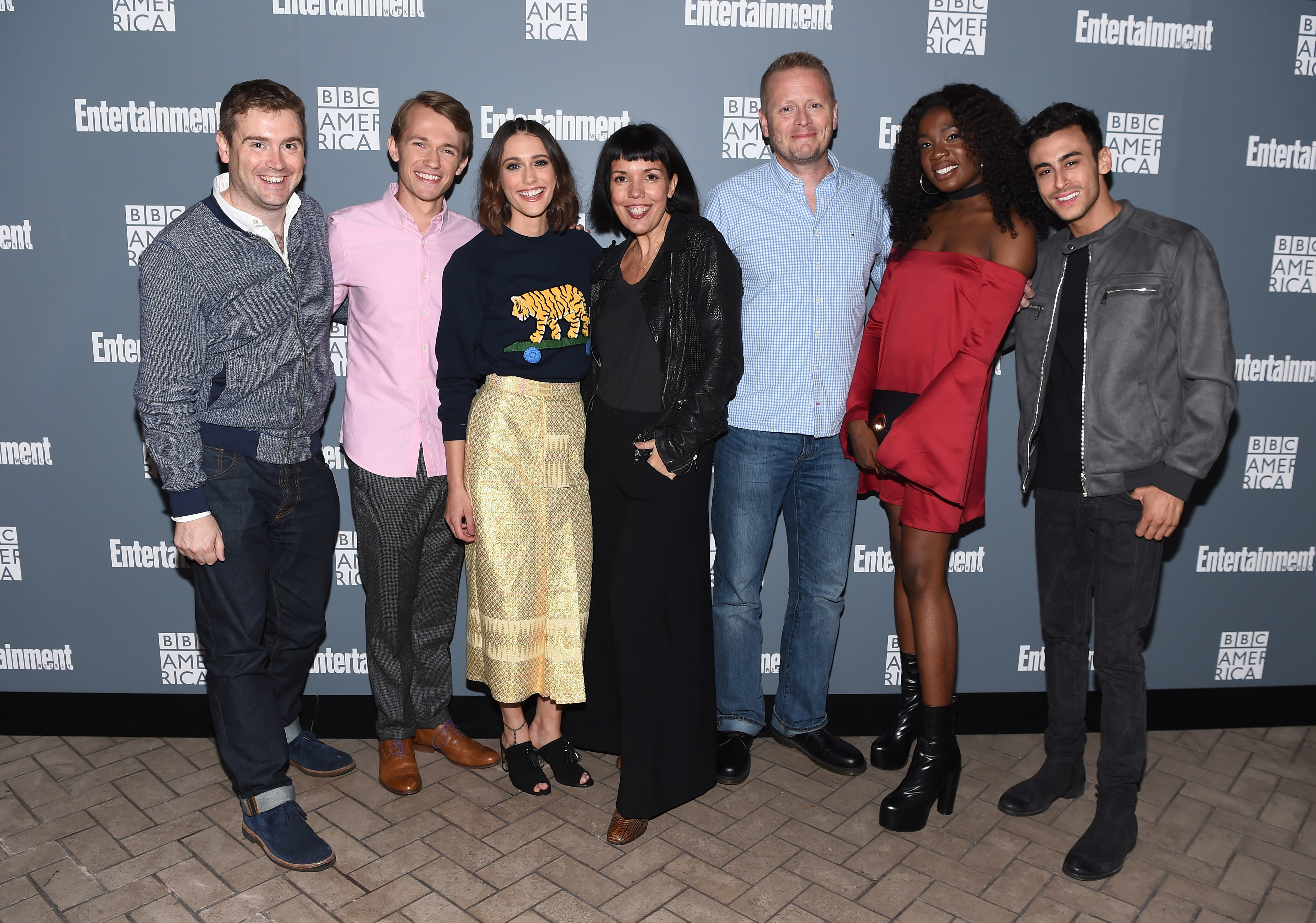 NEW YORK, NY - OCTOBER 06:  Brian Minchin, Greg Austin, Sophie Hopkins, Sarah Barnett, Patrick Ness, Vivan Oparah, and Fady Elsayed attend EW Hosts An Evening With BBC America on October 6, 2016 in New York City.  (Photo by Dave Kotinsky/Getty Images for Entertainment Weekly)