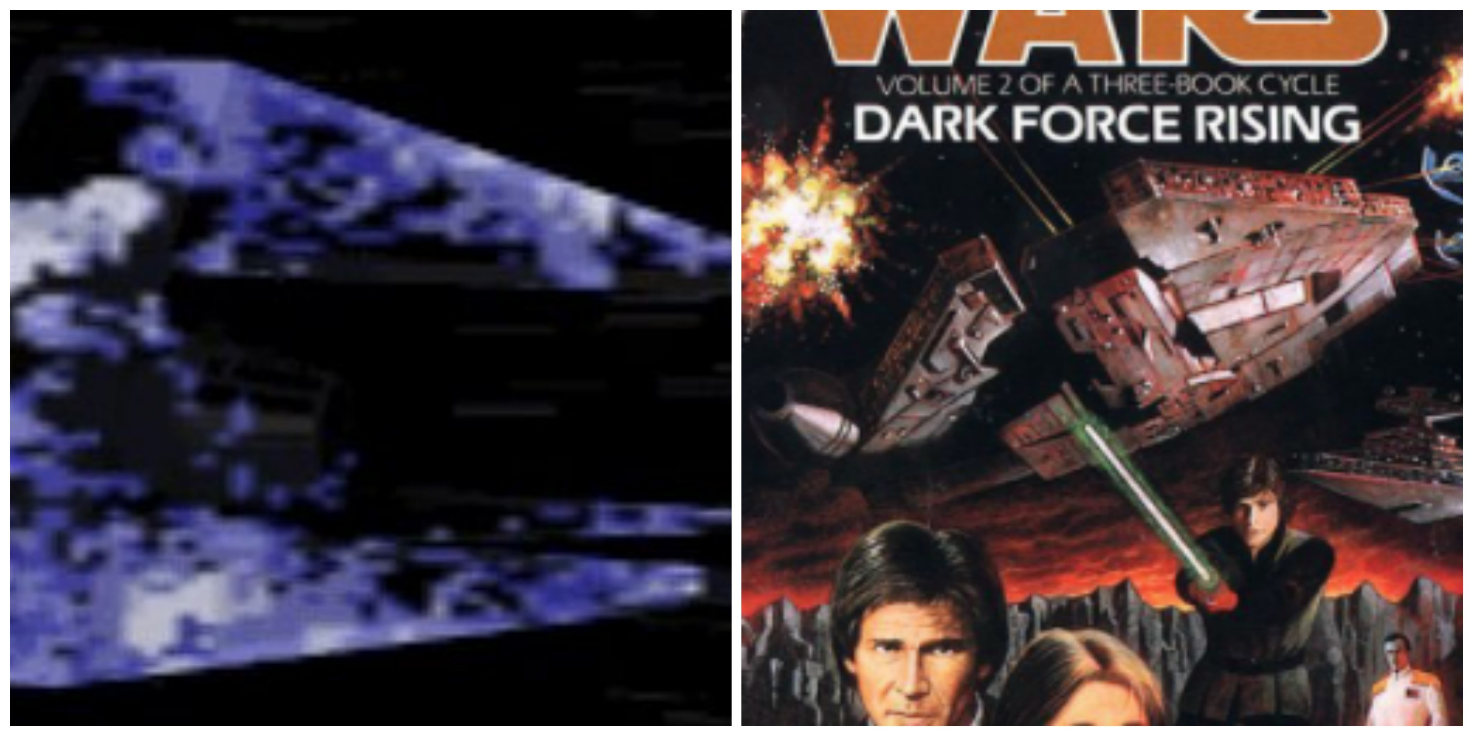 LEFT: A Phantom TIE. RIGHT: DARK FORCE RISING by Timothy Zahn