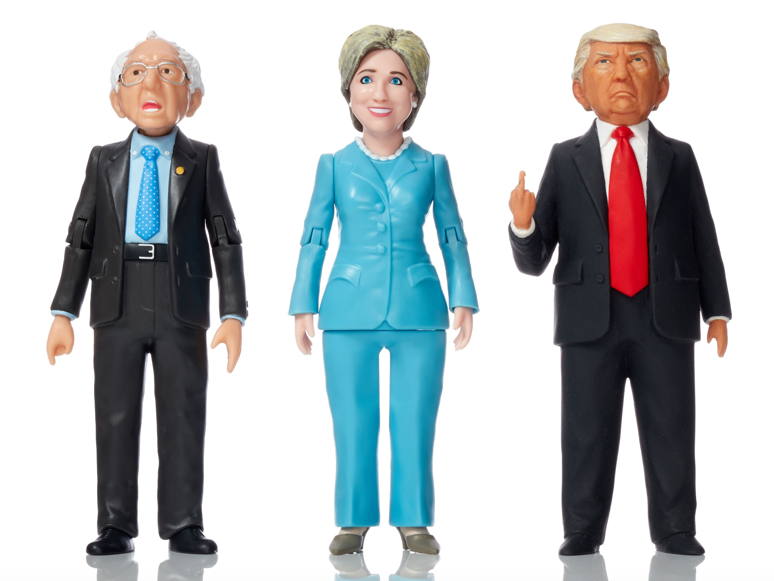 The FCTRY figurines of Bernie Sanders, Hillary Clinton and Donald Trump.