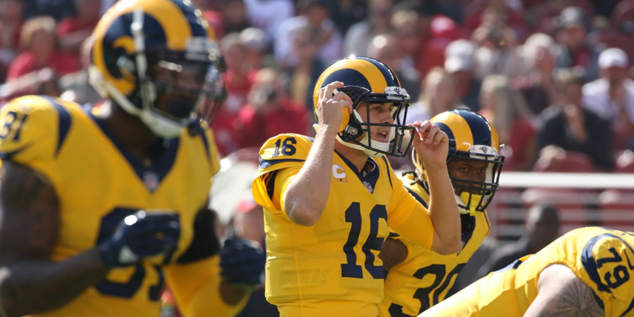 Los Angeles Rams Quarterback Jared Goff (16) and local Bay Area native calls signals on the line during an NFL game between the San Francisco 49ers and the Los Angeles Rams on October, 21, 2018, at Levi's Stadium in Santa Clara, CA.