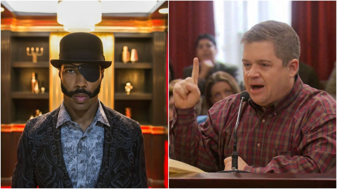 """Omari Hardwick as Mr. _ in 'Sorry to Bother You' and Patton Oswalt as Garth Blundin in the 'Parks and Recreation' episode """"Article Two""""."""
