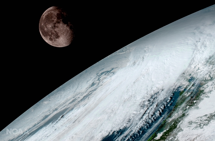 GOES-16 captures an image of the moon orbiting Earth. (NOAA/NASA)