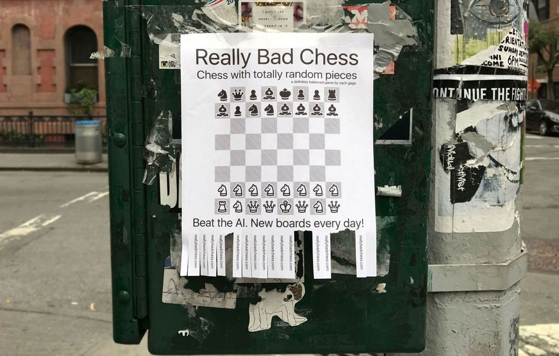 A flyer for Really Bad Chess in New York City.