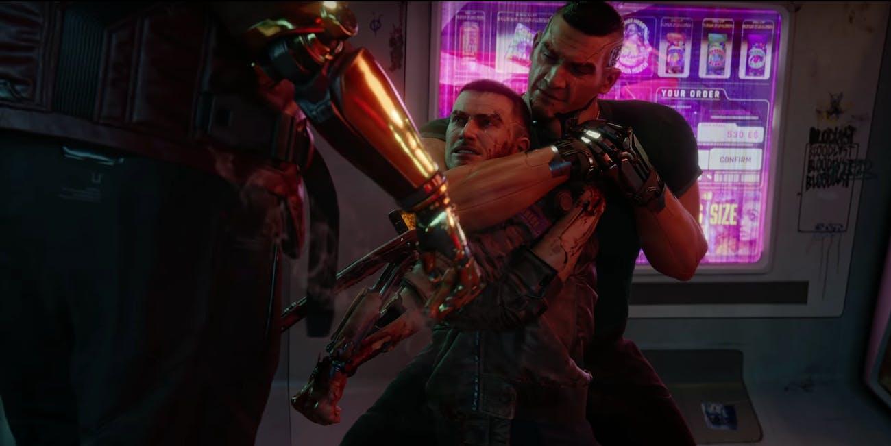 Still from Cyberpunk 2077 cinematic trailer