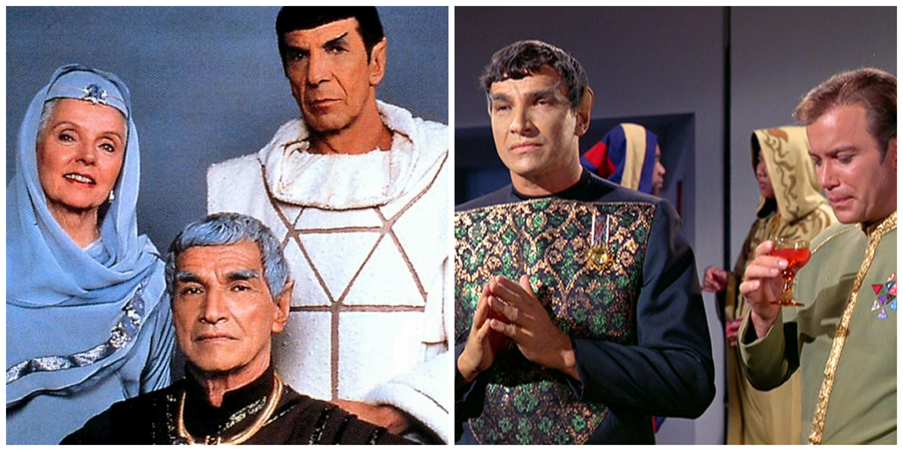 LEFT: Amanda, Sarek and their son, Spock. RIGHT: Sarek and Captain Kirk back in the day.