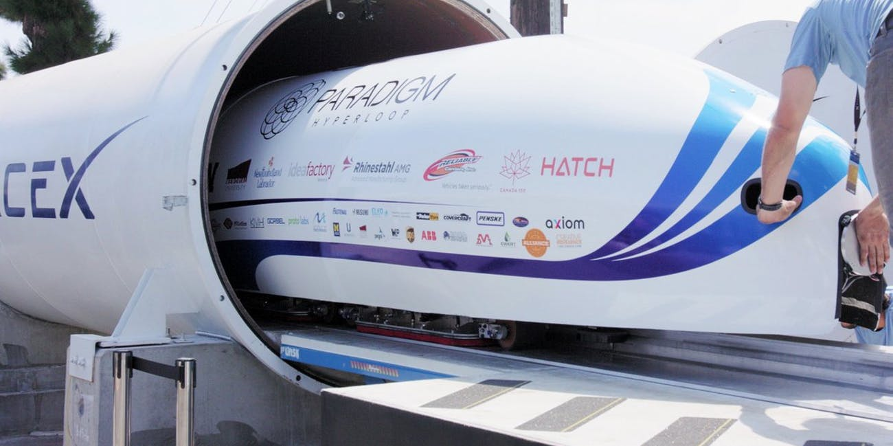 Hyperloop flying through a tunnel