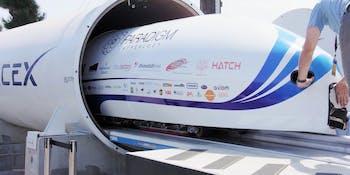 Hyperloop flying through a tunnel